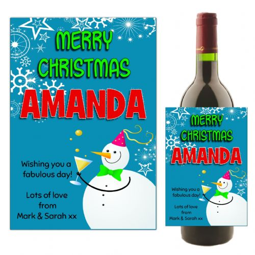 Personalised Christmas  Wine or Champagne Bottle Label N165